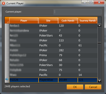 Holdem manager select player