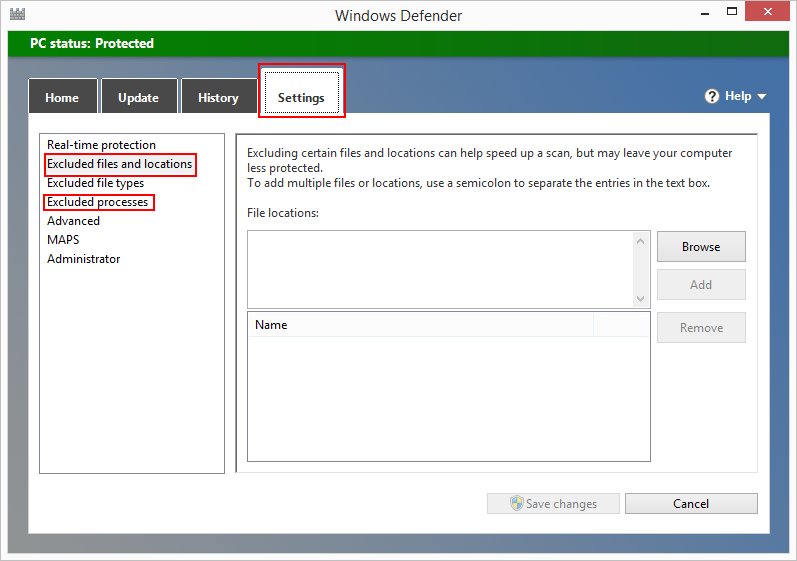how to add exceptions to windows defender 8.1